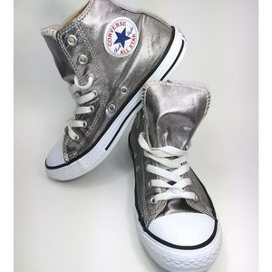 Girls Silver Converse High Tops